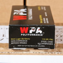 9MM LUGER WOLF POLYFORMANCE 115 GRAIN FMJ (50 ROUNDS)