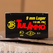 9MM LUGER TULA 115 GRAIN FMJ (1000 ROUNDS)