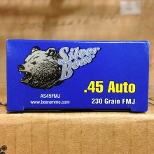 .45 ACP SILVER BEAR 230 GRAIN FMJ (50 ROUNDS)