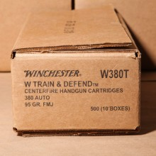 380 AUTO WINCHESTER TRAIN & DEFEND 95 GRAIN FMJ (500 ROUNDS)
