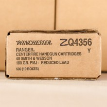 40 S&W WINCHESTER RANGER REDUCED LEAD 180 GRAIN FMJ (500 ROUNDS)