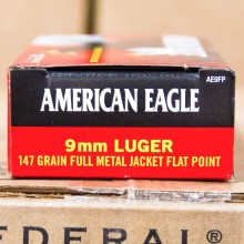 9MM LUGER FEDERAL AMERICAN EAGLE 147 GRAIN FMJ (50 ROUNDS)