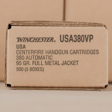 380 ACP WINCHESTER VALUE PACK 95 GRAIN FMJ (500 ROUNDS)