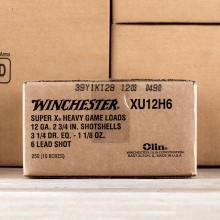 """12 GAUGE WINCHESTER SUPER-X HEAVY GAME LOAD 2 3/4"""" 1 1/8 OZ. #6 SHOT (25 ROUNDS)"""
