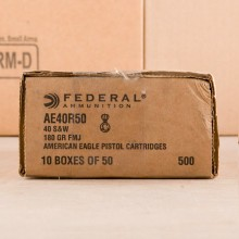 40 S&W FEDERAL AMERICAN EAGLE 180 GRAIN FMJ (50 ROUNDS)