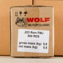 223 REMINGTON WOLF WPA MILITARY CLASSIC 55 GRAIN FMJ (500 ROUNDS)