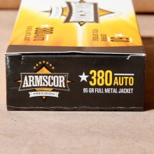 .380 ACP ARMSCOR 95 GRAIN FMJ (1000 ROUNDS)