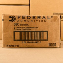 38 SPECIAL FEDERAL WADCUTTER 158 GRAIN SWC (1000 ROUNDS)