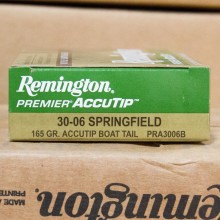30-06 SPRINGFIELD REMINGTON PREMIER 165 GRAIN ACCUTIP BOAT TAIL POLYMER TIP (20 ROUNDS)