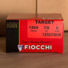"12 GAUGE FIOCCHI TARGET LOAD 2-3/4"" 7/8 OZ. #8 SHOT (25 ROUNDS)"