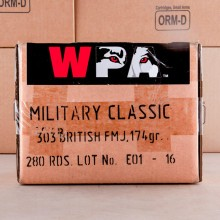 303 BRITISH WOLF MILITARY CLASSIC 174 GRAIN FMJ (280 ROUNDS)