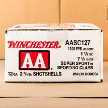 "12 GAUGE WINCHESTER AA SPORTING CLAY 2 3/4"" 1 1/8 OZ. #7 1/2 SHOT (250 ROUNDS)"
