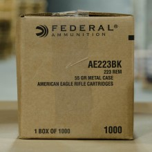 223 Rem FEDERAL AMERICAN EAGLE  55 GRAIN FMJBT (1000 ROUNDS)