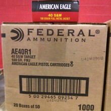 .40 S&W FEDERAL AMERICAN EAGLE 180 GRAIN FMJ (50 ROUNDS)