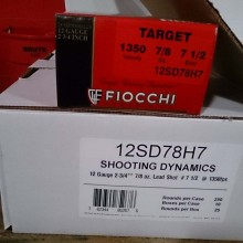 "12 GAUGE FIOCCHI 2 3/4"" 7/8 OZ. #7.5 SHOT TARGET LOAD (250 ROUNDS)"