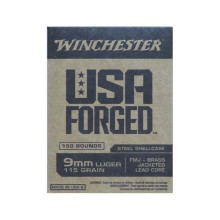 9MM LUGER WINCHESTER USA FORGED 115 GRAIN FMJ (750 ROUNDS)
