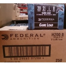"Federal 20 GA 2-3/4"" #8 shot - 7/8 oz Game Load (250 Rounds)"