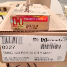 .223 REMINGTON HORNADY V-MAX 55 GRAIN JHP (20 ROUNDS)
