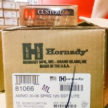30-06 SPRINGFIELD HORNADY CUSTOM LITE 125 GRAIN SST REDUCED RECOIL (20 ROUNDS)