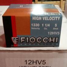 "12 GAUGE 2-3/4"" FIOCCHI HIGH VELOCITY #5 SHOT (250 ROUNDS)"