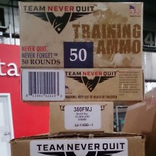 380 ACP TEAM NEVER QUIT TRAINING AMMO 95 GRAIN FMJ (50 ROUNDS)