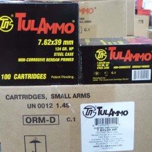 7.62x39MM TULA CARTRIDGE WORKS 124 GRAIN HP (1000 ROUNDS)