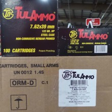 7.62x39MM TULA CARTRIDGE WORKS 122 GRAIN HP (100 ROUNDS)