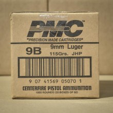 9MM PMC 115 GRAIN JACKETED HOLLOW POINT (1000 ROUNDS)
