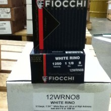 "12 GAUGE FIOCCHI WHITE RINO 2-3/4"" #8 SHOT (25 ROUNDS)"