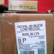 "12 GAUGE RIO ROYAL 2-3/4"" 00 BUCK (250 SHELLS)"