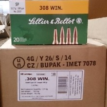 .308 WINCHESTER SELLIER & BELLOT 180 GRAIN SP (20 ROUNDS)