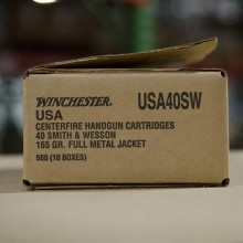 .40 S&W WINCHESTER 165 GRAIN FULL METAL JACKET (500 ROUNDS)