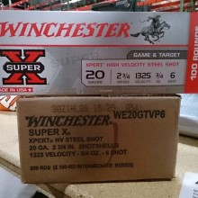 "20 GAUGE WINCHESTER XPERT HIGH VELOCITY 2-3/4"" 3/4 OZ. #6 STEEL (100 ROUNDS)"