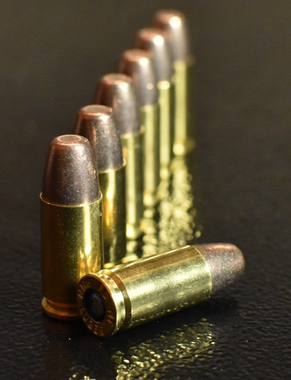 ammo with brass casings lined up