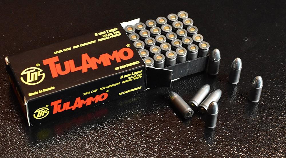 Steel cased Tula 9mm ammo