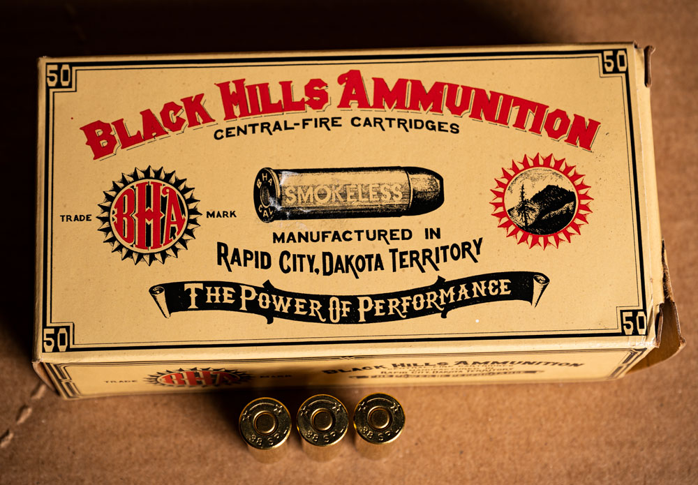 Black Hills Cowboy action ammo box with ammo