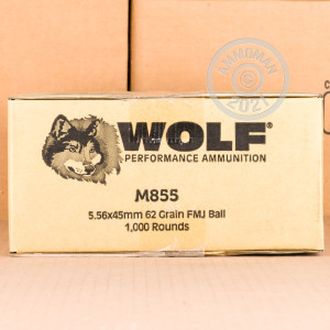 Photo detailing the 5.56X45 WOLF GOLD 62 GRAIN FMJ M855 (20 ROUNDS) for sale at AmmoMan.com.