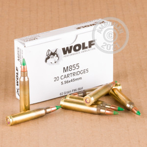 Image of 5.56X45 WOLF GOLD 62 GRAIN FMJ M855 (20 ROUNDS)
