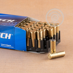 A photograph detailing the 38 Special ammo with Lead Wadcutter bullets made by Magtech.