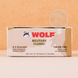 A photo of a box of Wolf ammo in 6.5 Grendel.