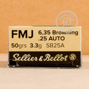 An image of .25 ACP ammo made by Sellier & Bellot at AmmoMan.com.
