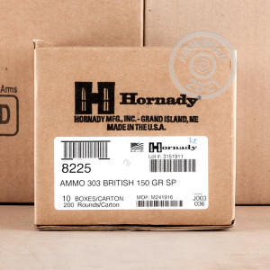 A photo of a box of Hornady ammo in 303 British.