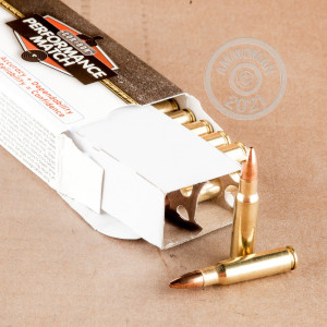 Image of 6.8 SPC ammo by Corbon that's ideal for hunting varmint sized game, precision shooting, training at the range.
