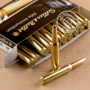 Image of 30.06 Springfield ammo by Sellier & Bellot that's ideal for big game hunting, hunting wild pigs, whitetail hunting.