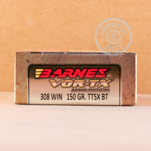 A photograph detailing the 308 / 7.62x51 ammo with TTSX bullets made by Barnes.