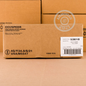 Image of 9mm Luger ammo by Speer that's ideal for home protection.