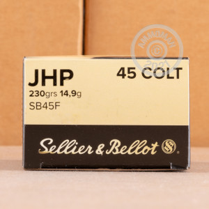 A photograph of 600 rounds of 230 grain .45 COLT ammo with a JHP bullet for sale.
