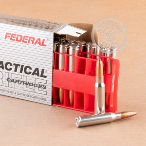 A photograph of 200 rounds of 165 grain 308 / 7.62x51 ammo with a Jacketed Soft-Point (JSP) bullet for sale.