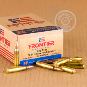 A photograph detailing the bulk 223 Remington ammo with HP bullets made by Hornady.
