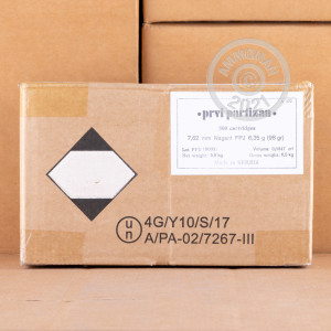 A photo of a box of Prvi Partizan ammo in 7.62mm NAGANT.